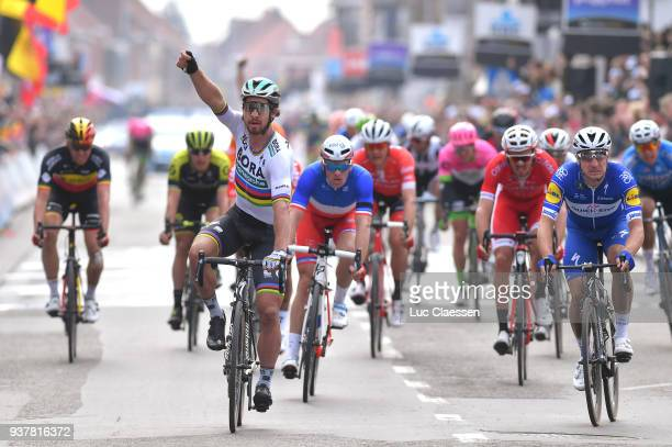 Arrival / Peter Sagan of Slowakia Celebration / Elia Viviani of Italy/ Arnaud Demare of France/during the 80th GentWevelgem In Flanders Fields 2018 a...