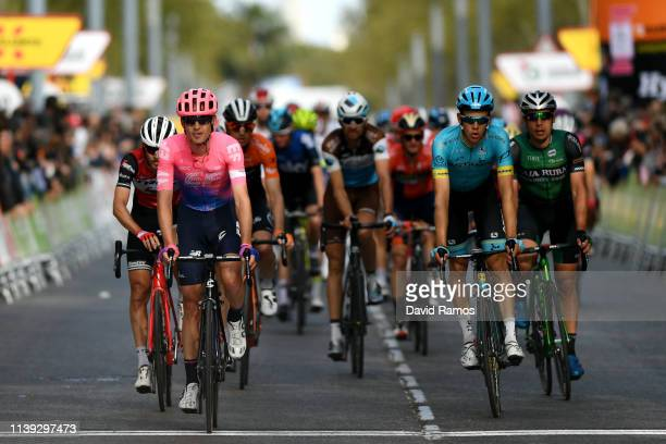 Arrival / Peter Stetina of The United States and Team Trek Segafredo / Nathan Brown of The United States and Team EF Education First / Davide...