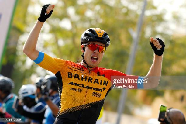 Arrival / Phil Bauhaus of Germany and Team Bahrain-Mclaren / Celebration / during the 1st Saudi Tour 2020, Stage 3 a 119km stage from King Saud...