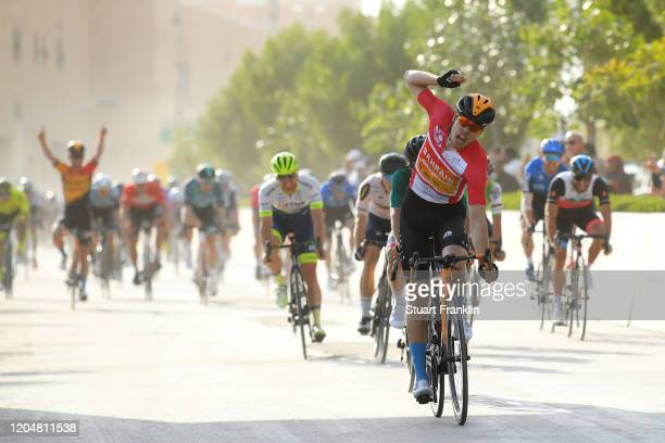 Arrival / Phil Bauhaus of Germany and Team Bahrain-Mclaren Red Points Jersey / Celebration / Nacer Bouhanni of France and Team Arkea-Samsic Green...