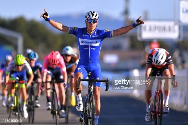 Arrival / Philippe Gilbert of Belgium and Team Deceuninck - Quick-Step / Celebration / Toms Skujins of Latvia and Team Trek-Segafredo / during the...