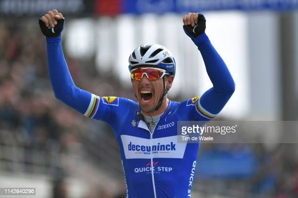 Arrival / Philippe Gilbert of Belgium and Team Deceuninck-QuickStep / Celebration / during the 117th Paris-Roubaix a 257km race from Compiègne to...