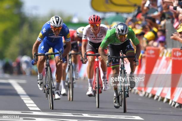 Arrival / Philippe Gilbert of Belgium and Team QuickStep Floors / Peter Sagan of Slovakia and Team Bora Hansgrohe Green Sprint Jersey / Jasper...