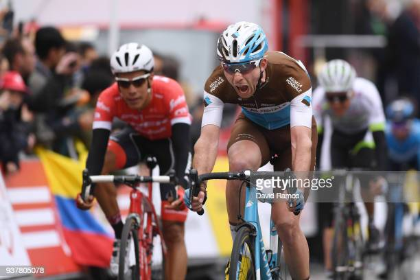 Arrival / Pierre Latour of France and Team AG2R La Mondiale Blue Young Jersey / Celebration / during the 98th Volta Ciclista a Catalunya 2018 Stage 7...