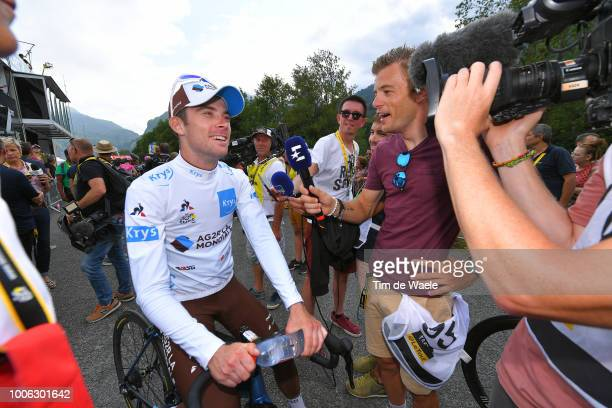 Arrival / Pierre Latour of France and Team AG2R La Mondiale White Best Young Jersey / Celebration / during the 105th Tour de France 2018 Stage 19 a...