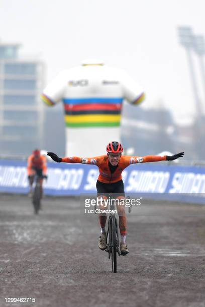 Arrival / Pim Ronhaar of The Netherlands Celebration / during the 72nd UCI Cyclo-Cross World Championships Oostende 2021, Men U23 / @UCI_CX /...