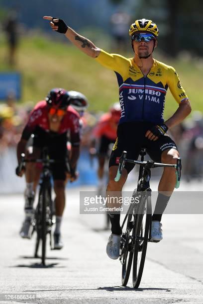 Arrival / Primoz Roglic of Slovenia and Team Jumbo - Visma / Celebration / Egan Arley Bernal Gomez of Colombia and Team INEOS / Valerio Conti of...