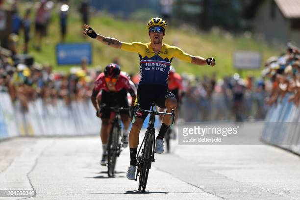 Arrival / Primoz Roglic of Slovenia and Team Jumbo - Visma / Celebration / Egan Arley Bernal Gomez of Colombia and Team INEOS / Valerio Conti of...