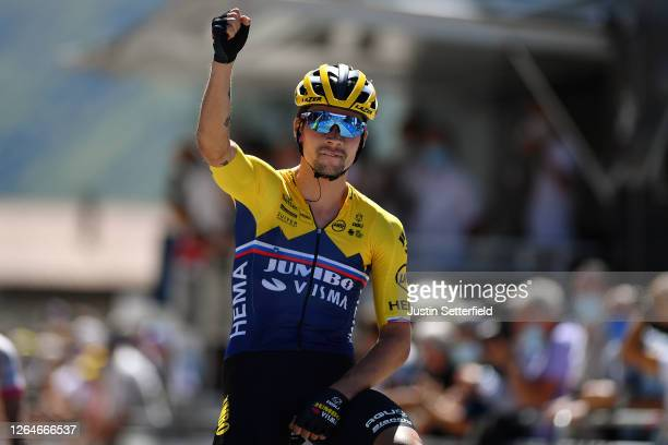 Arrival / Primoz Roglic of Slovenia and Team Jumbo - Visma / Celebration / during the 32nd Tour de L'Ain 2020, Stage 2 a 141km stage from Lagnieu to...