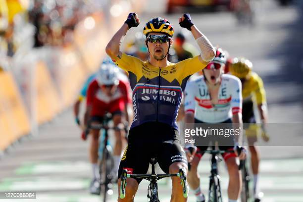 Arrival / Primoz Roglic of Slovenia and Team Jumbo - Visma / Celebration / Tadej Pogacar of Slovenia and UAE Team Emirates / Guillaume Martin of...