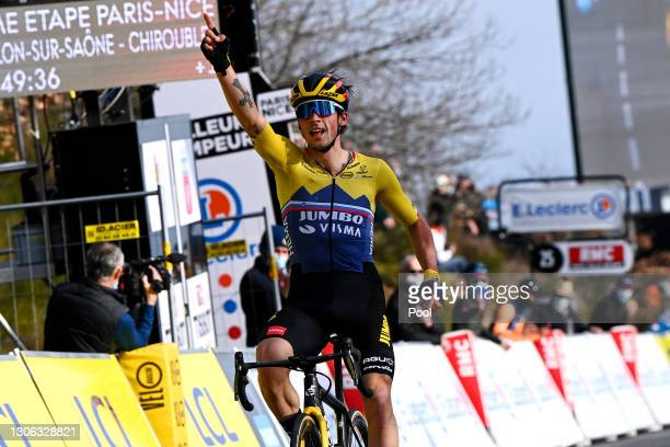 Arrival / Primoz Roglic of Slovenia and Team Jumbo - Visma Celebration, during the 79th Paris - Nice 2021, Stage 4 a 187,5km stage from...