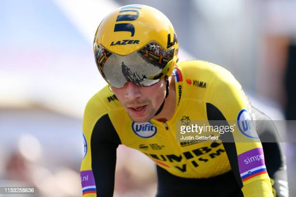 Arrival / Primoz Roglic of Slovenia and Team Jumbo - Visma / during the 102nd Giro d'Italia 2019, Stage 21 a 17km Individual Time Trial stage from...