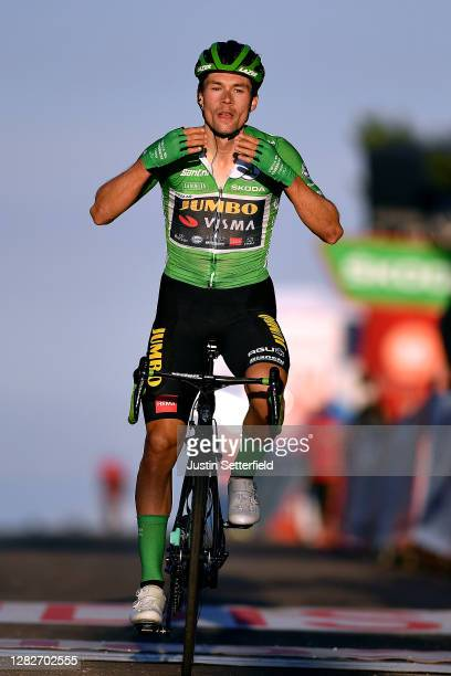 Arrival / Primoz Roglic of Slovenia and Team Jumbo - Visma Green Points Jersey / Celebration / during the 75th Tour of Spain 2020, Stage 8 a 164km...