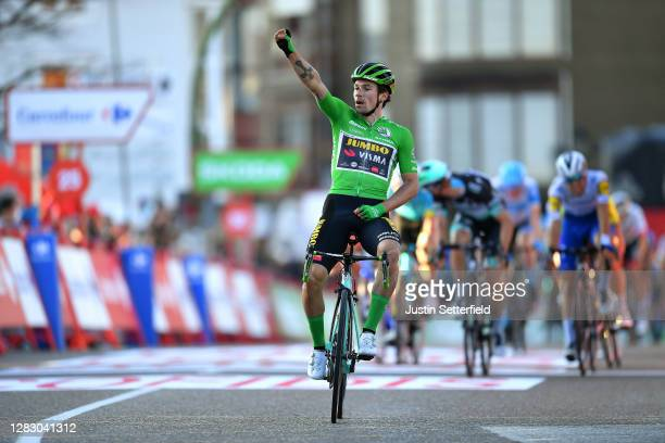 Arrival / Primoz Roglic of Slovenia and Team Jumbo - Visma Green Points Jersey / Celebration / Andrea Bagioli of Italy and Team Deceuninck -...