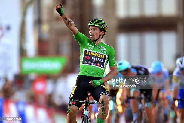 Arrival / Primoz Roglic of Slovenia and Team Jumbo Visma Green Points Jersey / Celebration / Andrea Bagioli of Italy and Team Deceuninck QuickStep /...