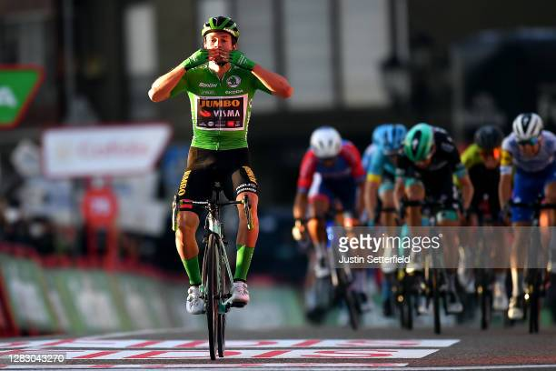 Arrival / Primoz Roglic of Slovenia and Team Jumbo - Visma Green Points Jersey / Celebration / Andrea Bagioli of Italy and Team Deceuninck -...