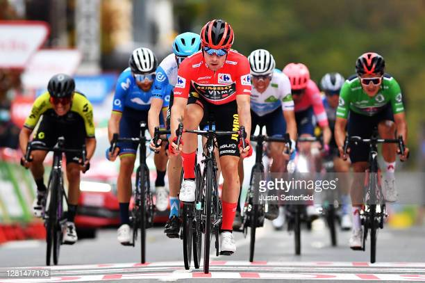 Arrival / Primoz Roglic of Slovenia and Team Jumbo - Visma Red Leader Jersey / Daniel Martin of Ireland and Team Israel Start-Up Nation / Alejandro...