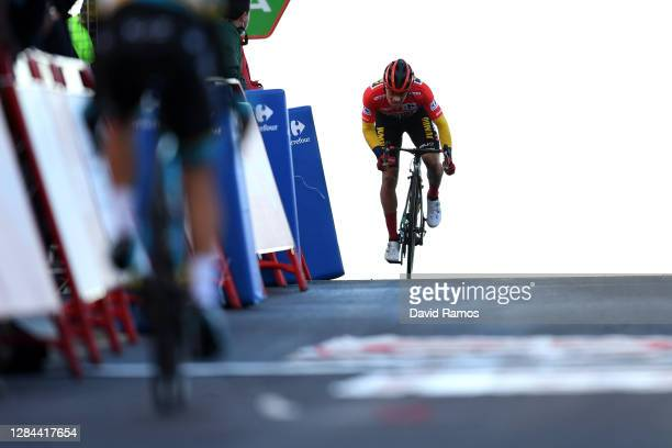 Arrival / Primoz Roglic of Slovenia and Team Jumbo - Visma Red Leader Jersey / Celebration / during the 75th Tour of Spain 2020, Stage 17 a 178,2km...