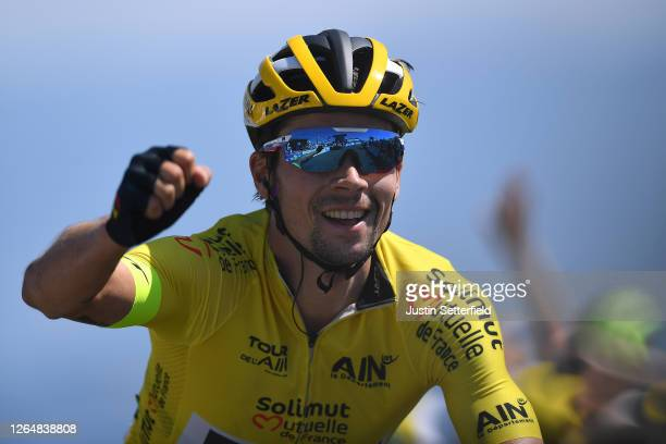 Arrival / Primoz Roglic of Slovenia and Team Jumbo - Visma Yellow Leader Jersey / Celebration / during the 32nd Tour de L'Ain 2020, Stage 3 a 145km...