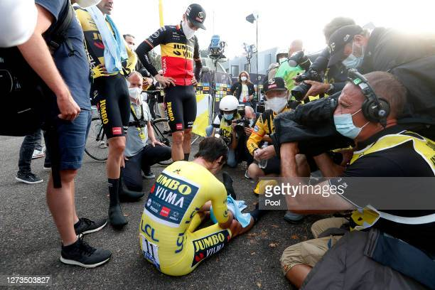 Arrival / Primoz Roglic of Slovenia and Team Jumbo - Visma Yellow Leader Jersey / Disappointment / Press / Media / during the 107th Tour de France...