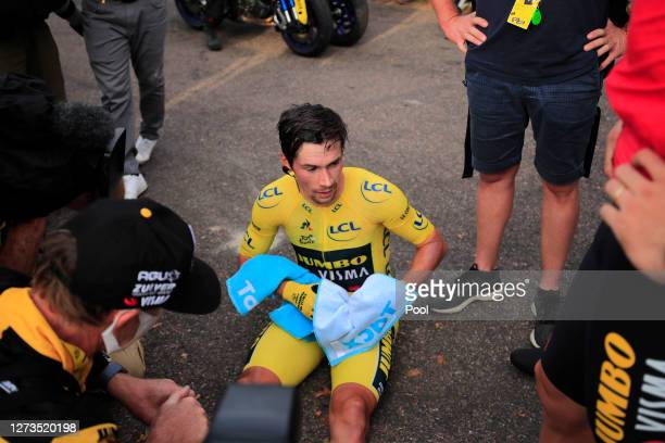 Arrival / Primoz Roglic of Slovenia and Team Jumbo - Visma Yellow Leader Jersey / Disappointment / during the 107th Tour de France 2020, Stage 20 a...