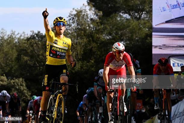 Arrival / Primoz Roglic of Slovenia and Team Jumbo - Visma Yellow leader jersey Celebration, Christophe Laporte of France and Team Cofidis, Michael...