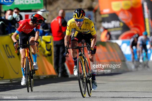 Arrival / Primoz Roglic of Slovenia and Team Jumbo - Visma Yellow leader jersey, Gino Mader of Switzerland and Team Bahrain Victorious, Maximilian...