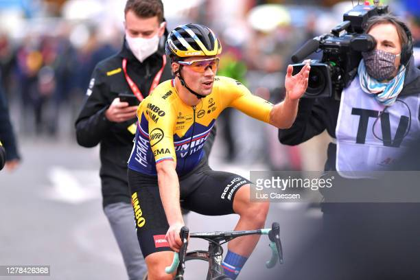 Arrival / Primoz Roglic of Slovenia and Team Jumbo-Visma / Celebration / during the 106th Liege - Bastogne - Liege 2020, Men Elite a 257km race from...