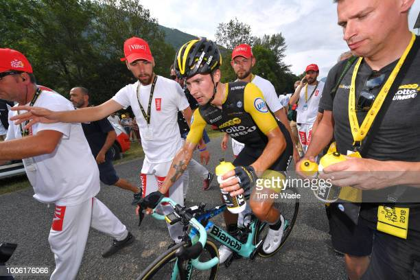 Arrival / Primoz Roglic of Slovenia and Team LottoNL Jumbo / Celebration / during the 105th Tour de France 2018 Stage 19 a 2005km stage from Lourdes...