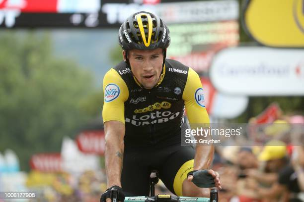 Arrival / Primoz Roglic of Slovenia and Team LottoNL - Jumbo / Celebration / during the 105th Tour de France 2018, Stage 19 a 200,5km stage from...