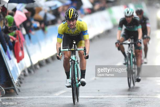Arrival / Primoz Roglic of Slovenia and Team LottoNLJumbo Yellow Leader Jersey / during the 58th Vuelta Pais Vasco 2018 Stage 6 a 1222km stage from...