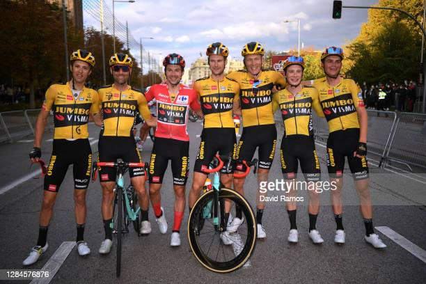Arrival / Primoz Roglic of Slovenia Red Leader Jersey, George Bennett of New Zealand, Robert Gesink of The Netherlands, Lennard Hofstede of The...