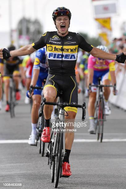 Arrival / Quinten Hermans of Belgium and Team Telenet Fidea Lions / Celebration / Lorrenzo Manzin of France and Team Vital Concept Cycling Club /...
