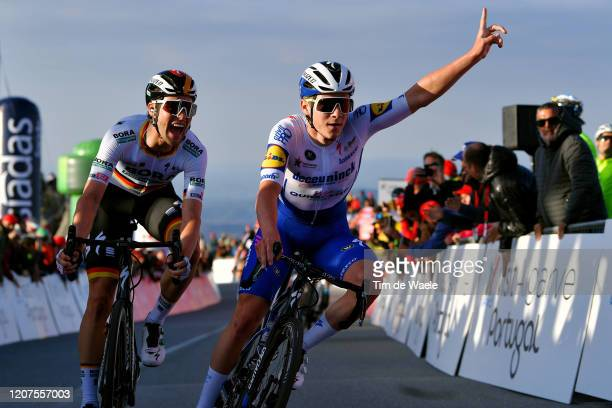 Arrival / Remco Evenepoel of Belgium and Team Deceuninck - Quick Step / Celebration / Maximilian Schachmann of Germany and Team Bora-Hansgrohe /...