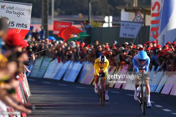 Arrival / Remco Evenepoel of Belgium and Team Deceuninck - Quick Step Yellow Leader Jersey / during the 46th Volta ao Algarve 2020, Stage 5 a 20,3km...