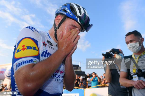Arrival / Remco Evenepoel of Belgium and Team Deceuninck - Quick-Step / Exhausted / during the 77th Tour of Poland 2020, Stage 4 a 173km stage from...
