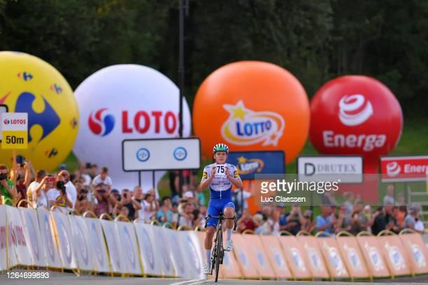 Arrival / Remco Evenepoel of Belgium and Team Deceuninck - Quick-Step / Celebration / Stage victory dedicated to Fabio Jakobsen of The Netherlands...