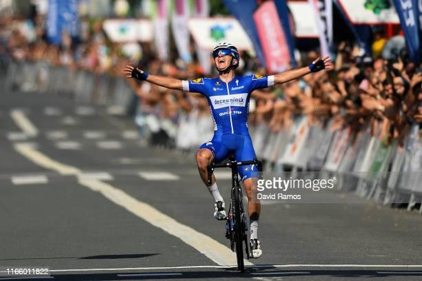 Arrival / Remco Evenepoel of Belgium and Team Deceuninck-QuickStep / Celebration / during the 39th Clásica Ciclista San Sebastián 2019 a 227,3km race...