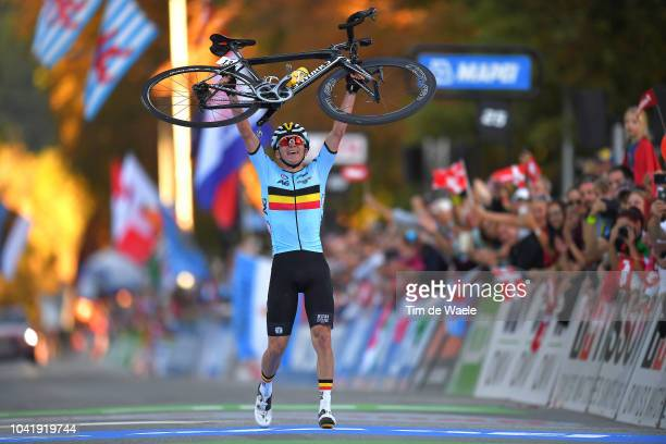 Arrival / Remco Evenepoel of Belgium / Celebration / during the Men Juniors Road Race a 1324km race from Kufstein to Innsbruck 582m at the 91st UCI...