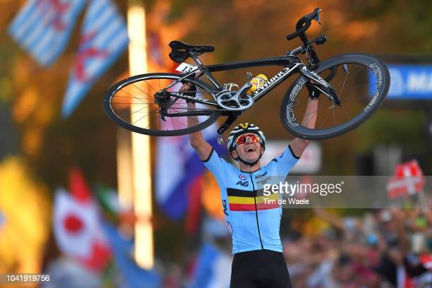 Arrival / Remco Evenepoel of Belgium / Celebration / during the Men Juniors Road Race a 132,4km race from Kufstein to Innsbruck 582m at the 91st UCI...