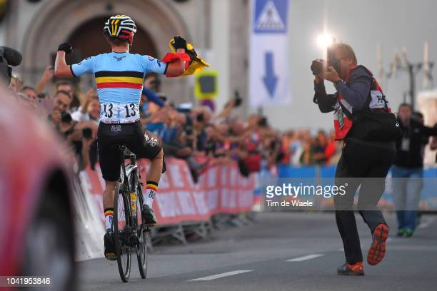 Arrival / Remco Evenepoel of Belgium / Celebration / Photographer / during the Men Juniors Road Race a 132,4km race from Kufstein to Innsbruck 582m...