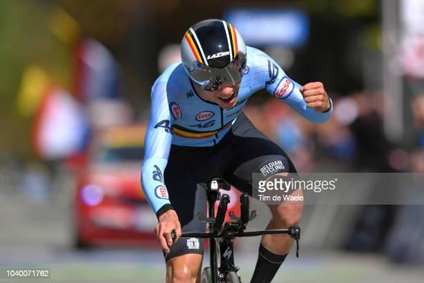 Arrival / Remco Evenepoel of Belgium / Guy Vermeiren of Belgium Press Officer Belgian Cycling Federation / Celebration / during the Men Juniors...