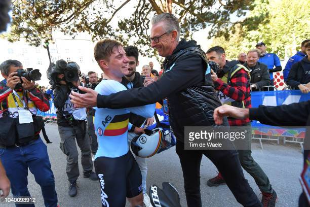 Arrival / Remco Evenepoel of Belgium / Guy Vermeiren of Belgium Press Officer - Belgian Cycling Federation / Celebration / during the Men Juniors...