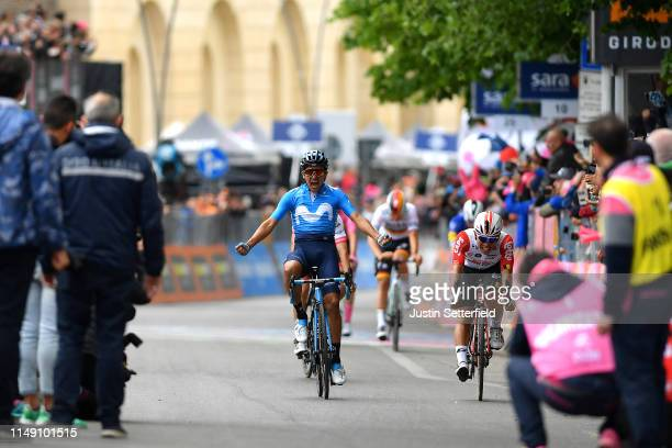 Arrival / Richard Carapaz of Ecuador and Movistar Team Celebration / Caleb Ewan of Australia and Team Lotto Soudal / during the 102nd Giro d'Italia...