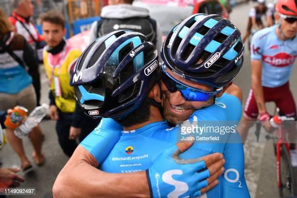 Arrival / Richard Carapaz of Ecuador and Movistar Team / Jose Joaquin Rojas Gil of Spain and Movistar Team / Celebration / during the 102nd Giro...