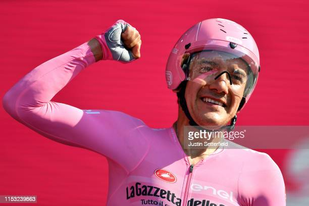 Arrival / Richard Carapaz of Ecuador and Movistar Team Pink Leader Jersey / Celebration / during the 102nd Giro d'Italia 2019 Stage 21 a 17km...