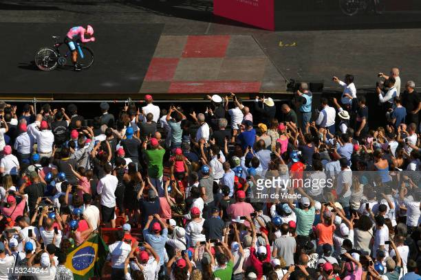 Arrival / Richard Carapaz of Ecuador and Movistar Team Pink Leader Jersey / during the 102nd Giro d'Italia 2019 Stage 21 a 17km Individual Time Trial...