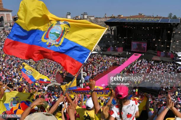 Arrival / Richard Carapaz of Ecuador and Movistar Team Pink Leader Jersey / Ecuatorian Fans / Public / Ecuador Flag / Landscape / Podium Area /...