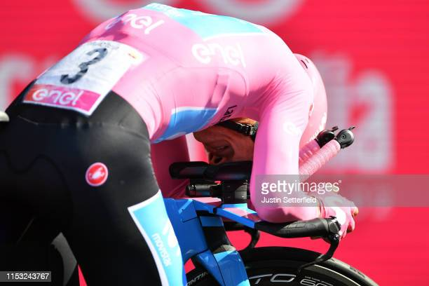 Arrival / Richard Carapaz of Ecuador and Movistar Team Pink Leader Jersey / Celebration / during the 102nd Giro d'Italia 2019, Stage 21 a 17km...