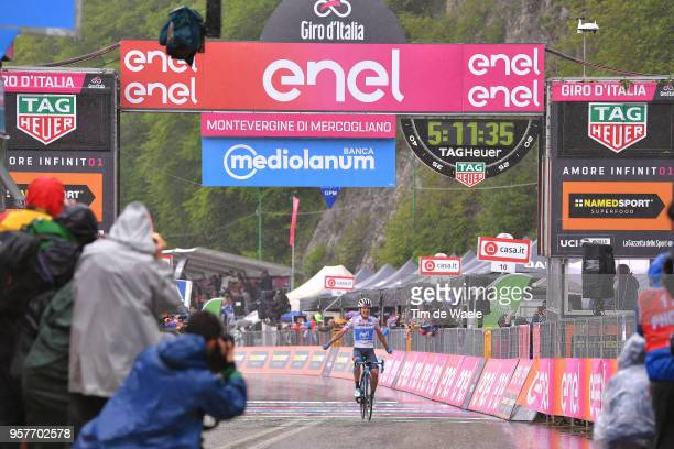 Arrival / Richard Carapaz of Ecuador and Movistar Team White Best Young Rider Jersey / Celebration / during the 101th Tour of Italy 2018, Stage 8 a...
